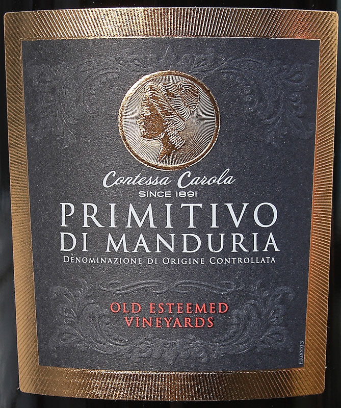 contessa carola primitivo di manduria 2016