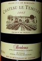 Chateau Le Templey 2007 этикетка